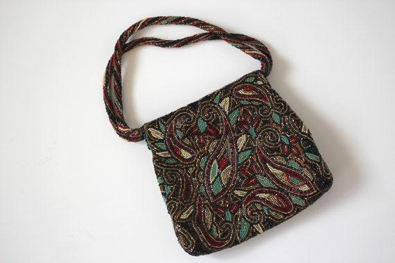 1950s vintage beaded purse / 50s beaded evening ba