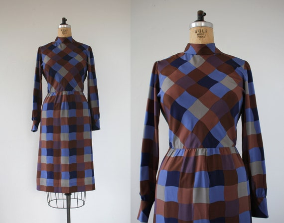 vintage 1960s dress / 60s long sleeve dress / 60s