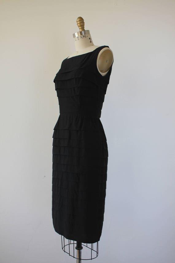 vinage 1950s black dress / 50s tiered dress / 50s… - image 3