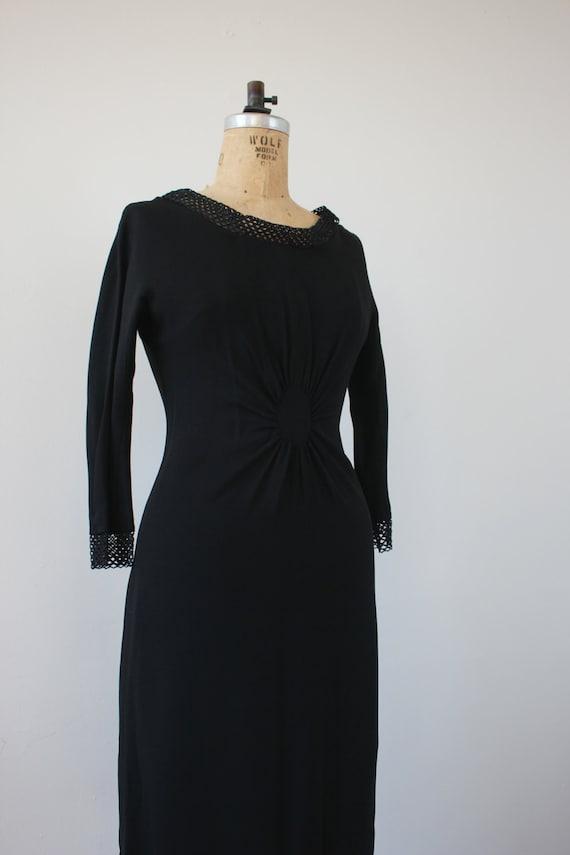 vintage 1950s dress / 50s black dress / 50s LBD /… - image 4
