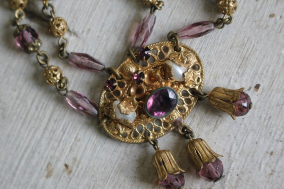 vintage 1930s brass and glass bead necklace / 30s… - image 4
