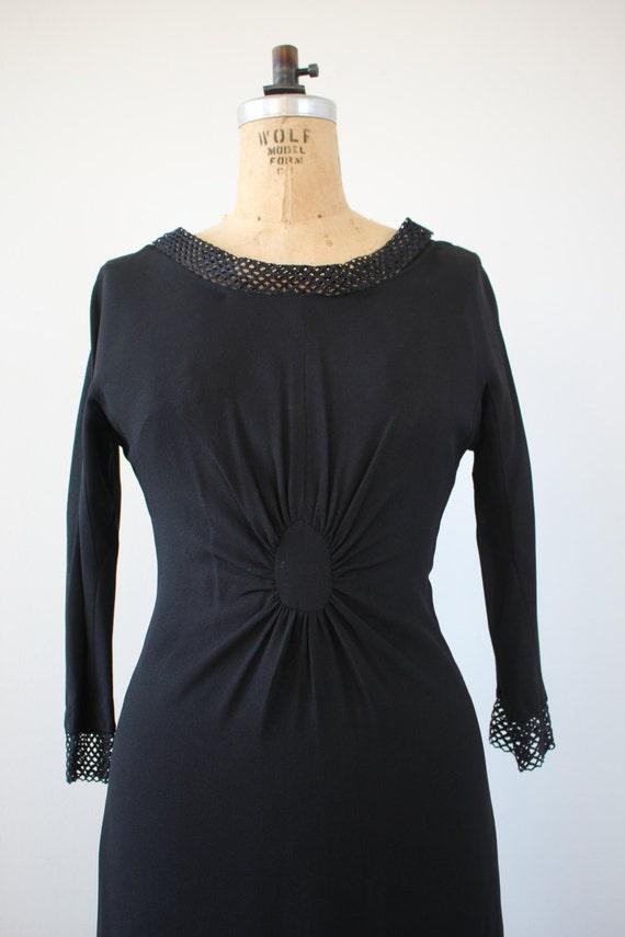 vintage 1950s dress / 50s black dress / 50s LBD /… - image 3