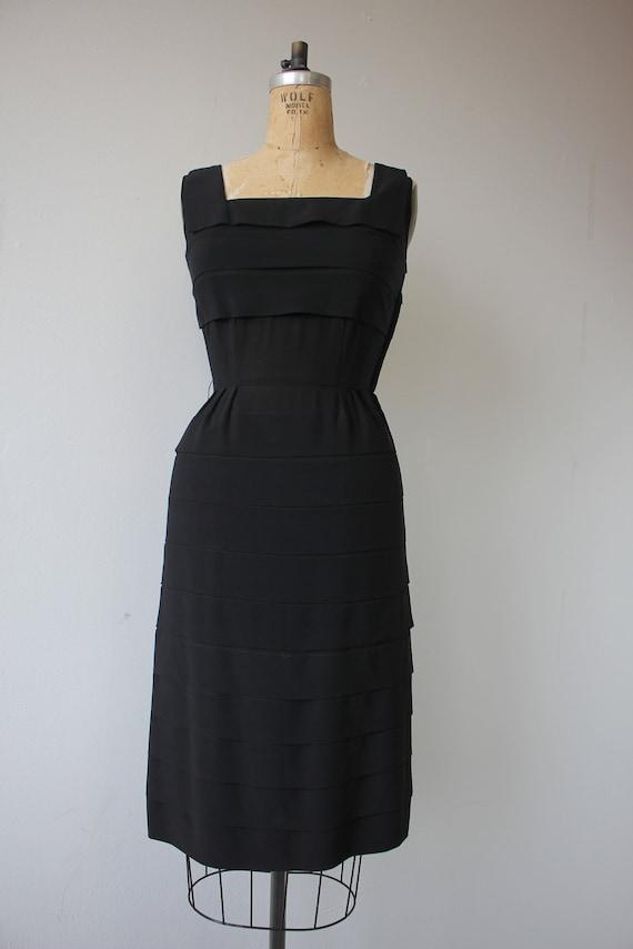 vinage 1950s black dress / 50s tiered dress / 50s… - image 8