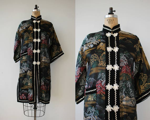 vintage 1970s robe / 70s kimono robe / 70s novelty
