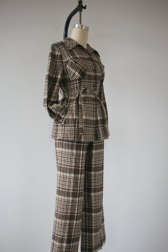 belted 70s wool 70s pantsuit medium vintage pendleton large jacket brown set 1970s pant pant 70s plaid suit Pendleton q1qOx7vwp