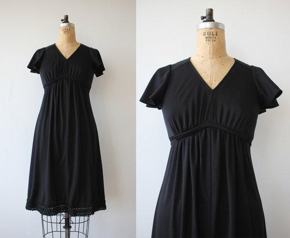 vintage 1970s dress / 70s black dress / 70s empire
