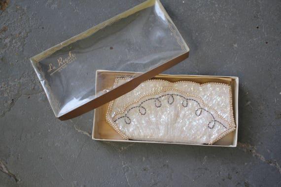 vintage 50s clutch / 50s beaded handbag / beaded e