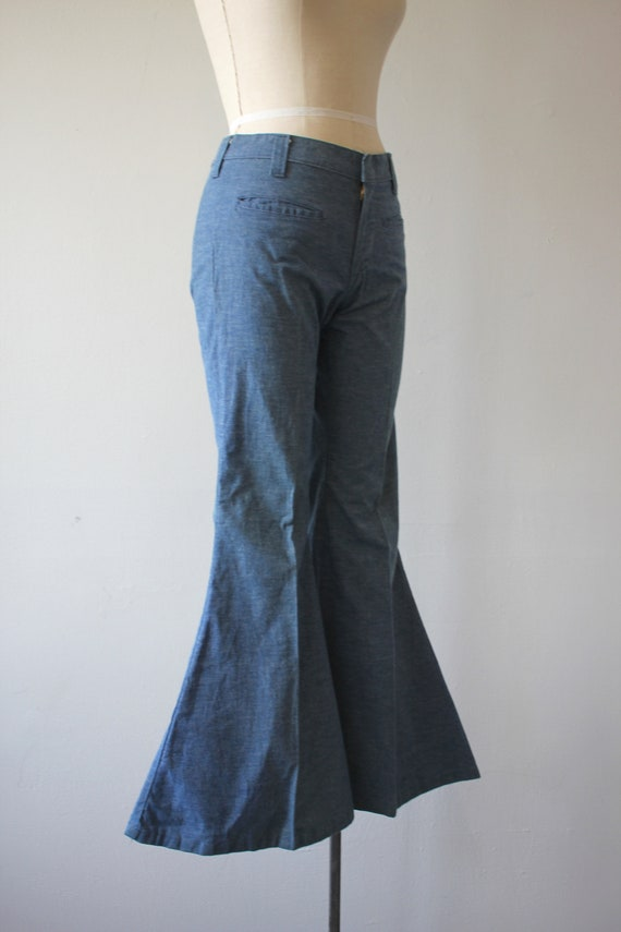 vintage 1970s jeans / 70s flared denim / 70s high… - image 5