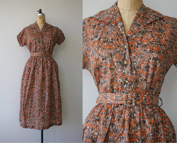 vintage 1950s dress / 40s day dress / 50s geometri