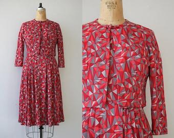 vintage 1960s dress / 60s geometric dress / 60s dress set / 60s day dress / 60s nylon jersey dress / 60s pink red dress jacket set / medium