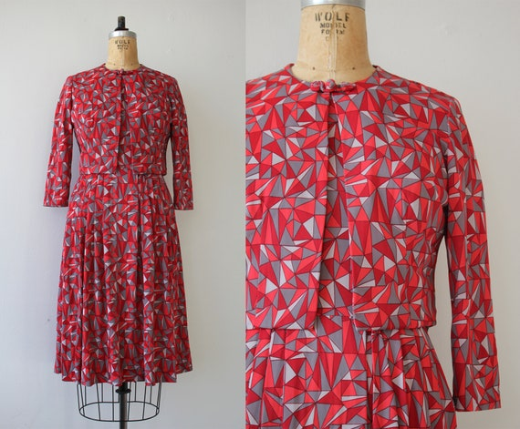 vintage 1960s dress / 60s geometric dress / 60s dr