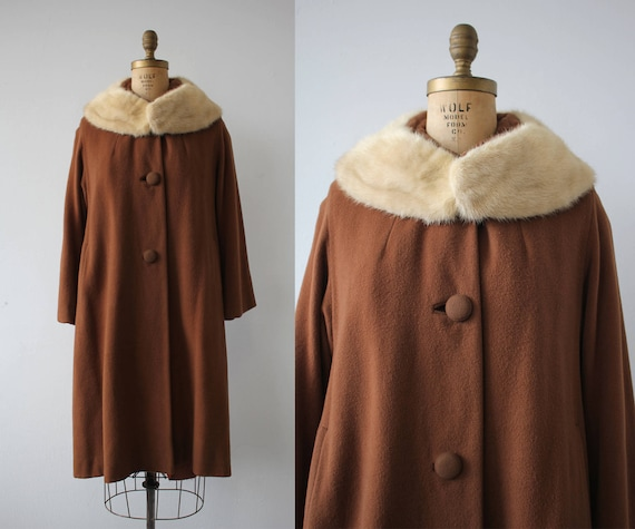 vintage 1960s coat / 60s brown cashmere coat / 60s