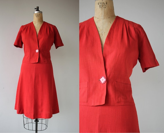 vintage 1940s suit / 40s red suit / 1940s ladies s