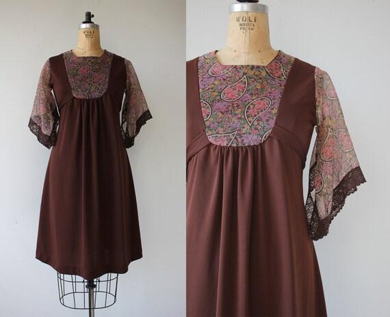 vintage 1970s dress / 70s brown dress / 70s empire