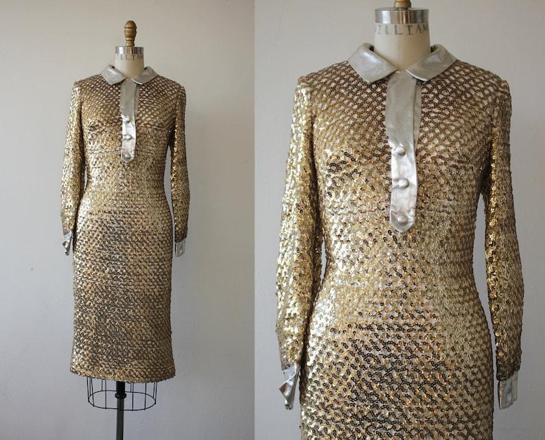 671e455879b 1960er Jahre Vintage Kleid   60er Jahre gold Pailletten
