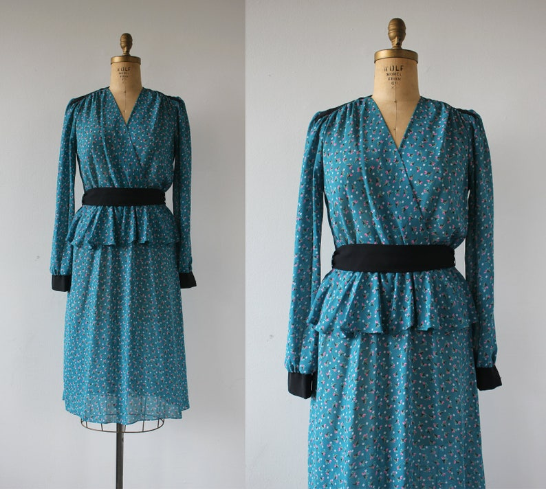 24f15b1fa0 Vintage 1980s teal blue dress   80s floral secretary dress