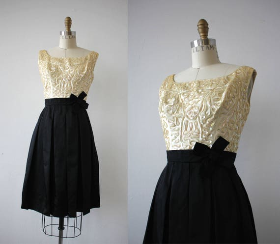 vintage 1950s dress / 50s black cream sequin party