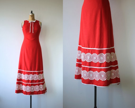 1960s vintage dress / 60s maxi dress / 60s red sun