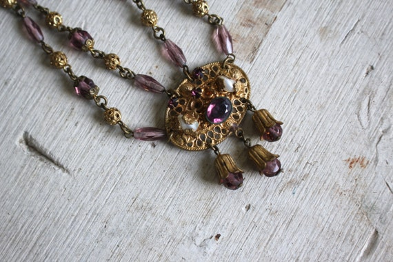 vintage 1930s brass and glass bead necklace / 30s… - image 2