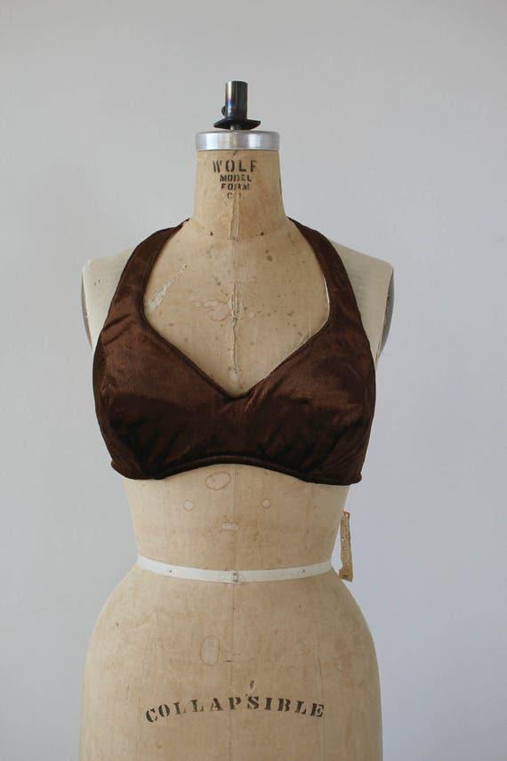 vintage 1970s halter top / NOS 70s bra top / 70s b