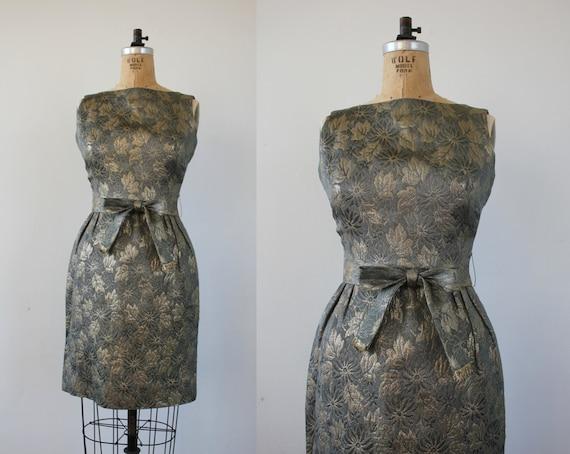 vintage 1960s dress / 60s gold metallic brocade dr