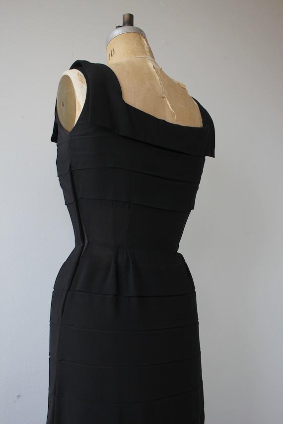 vinage 1950s black dress / 50s tiered dress / 50s… - image 7