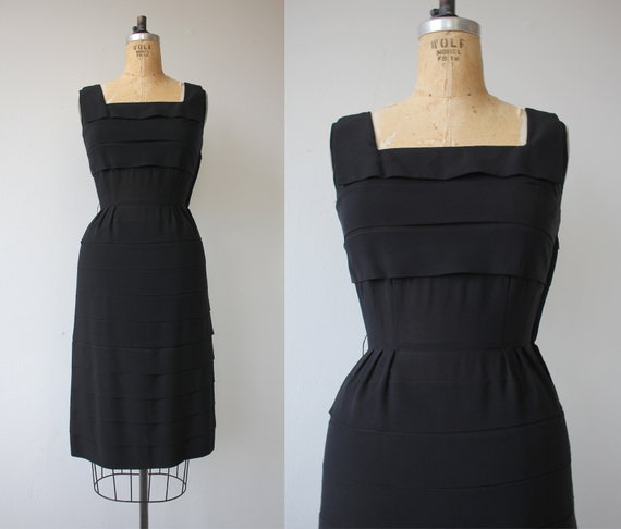 vinage 1950s black dress / 50s tiered dress / 50s