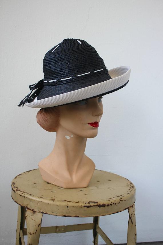 vintage 1970s hat / 1970s YSL straw hat / 70s desi
