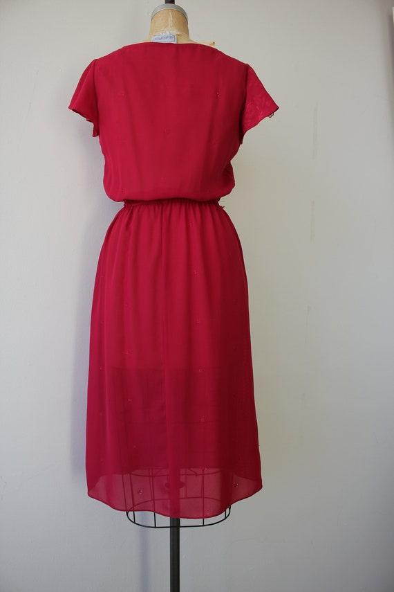vintage 1970s dress / 70s raspberry dress / 70s e… - image 4