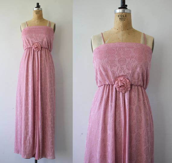 vintage 1970s maxi dress / 70s dusty pink floral f