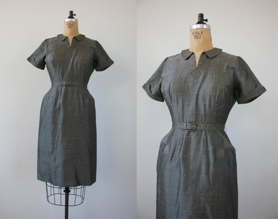vintage 1950s dress / 50s grey dress / 50s silk dr