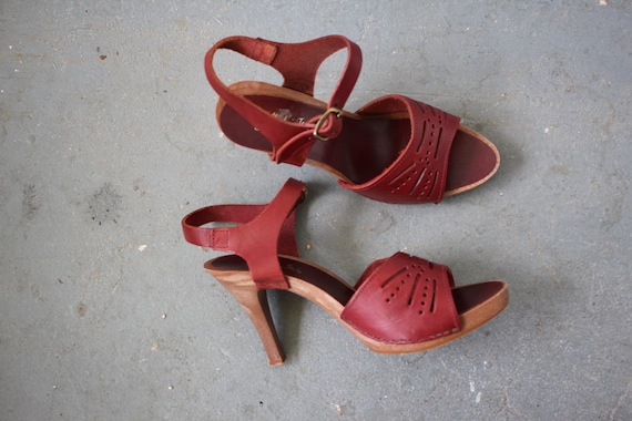 In 8 70s Size 1970s Platform Sandals Leather Italy Heels 5 Vintage Platforms Made 8 Maroon N0PX8nOwk