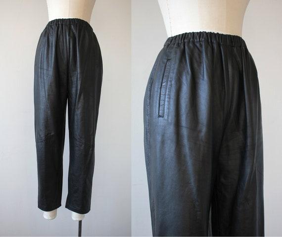 vintage 1980 pants / 80s leather pants / 80s black