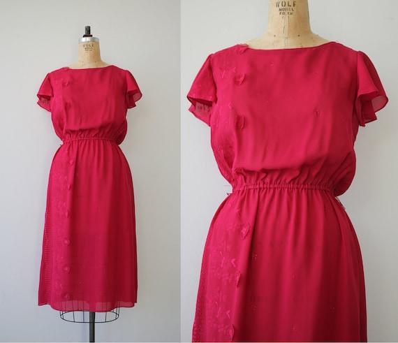 vintage 1970s dress / 70s raspberry dress / 70s e… - image 1