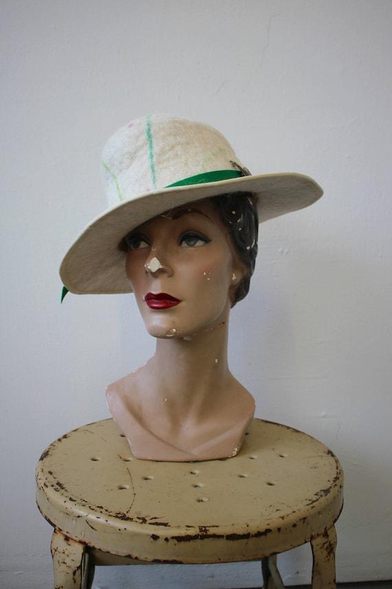 vintage 1980s hat / 80s cream felt wool hat / 80s