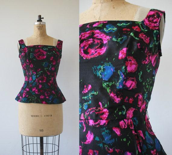 vintage 1960s blouse / 60s watercolor top / 60s sl