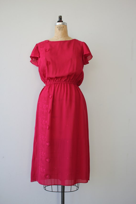 vintage 1970s dress / 70s raspberry dress / 70s e… - image 2