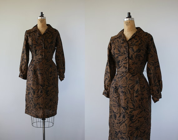 1950s vintage dress / 50s brown black floral print