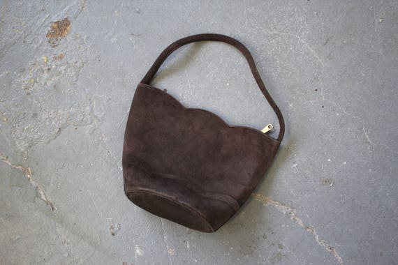 vintage 1940s purse / 40s brown suede handbag / 19