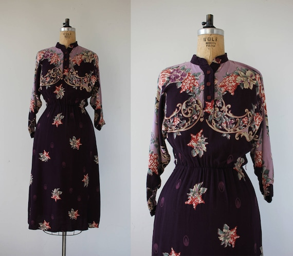 vintage 1980s dress / 80s purple floral dress / 80