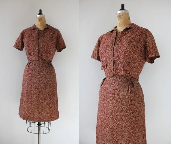 vintage 1950s dress set / 50s novelty print dress