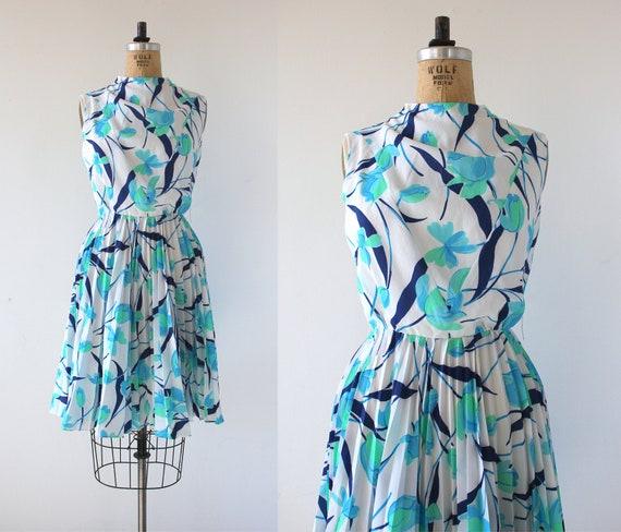 vintage 1960s dress / 60s floral print dress / 60s