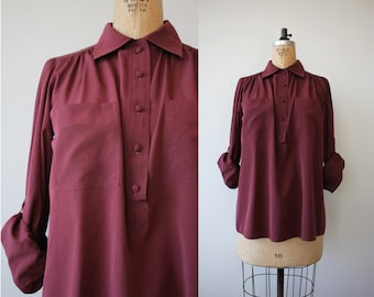 vintage 1980s blouse / 80s silky top / 80s blousy shirt / 80s chaus blouse / 80s solid maroon shirt / Medium large
