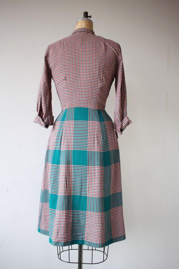 1940s vintage dress / 40s plaid cotton dress / 40… - image 8