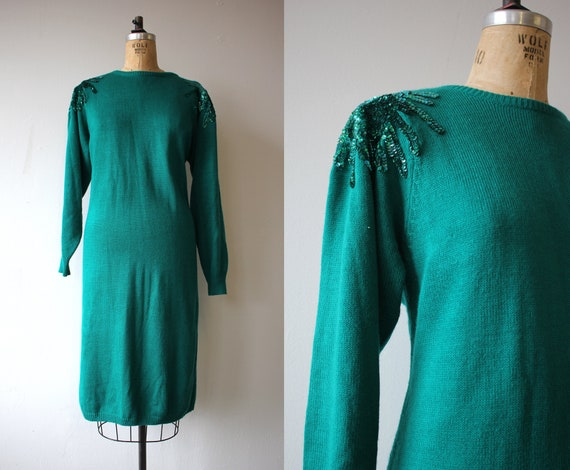 vintage 1980s dress / 80s sweater dress / green kn