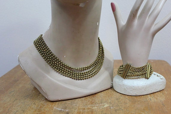 vintage 1930s brass necklace and bracelet set / 30