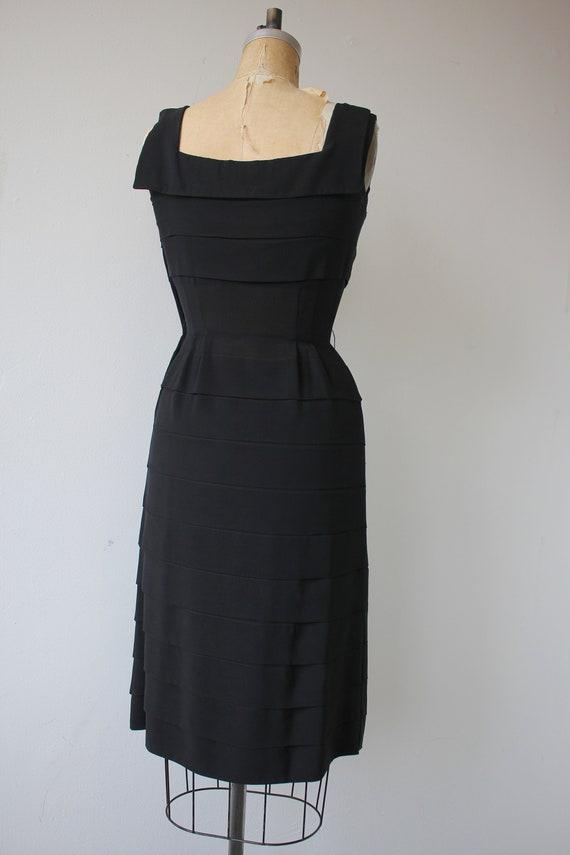 vinage 1950s black dress / 50s tiered dress / 50s… - image 6