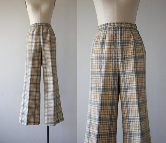 vintage 1970s pants / 70s plaid wide leg pants / 7