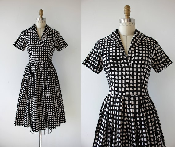 1950s vintage dress / 50s windowpane check dress /