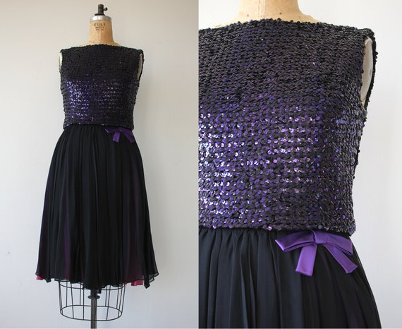 1960s vintage dress / 60s black sequin party dress